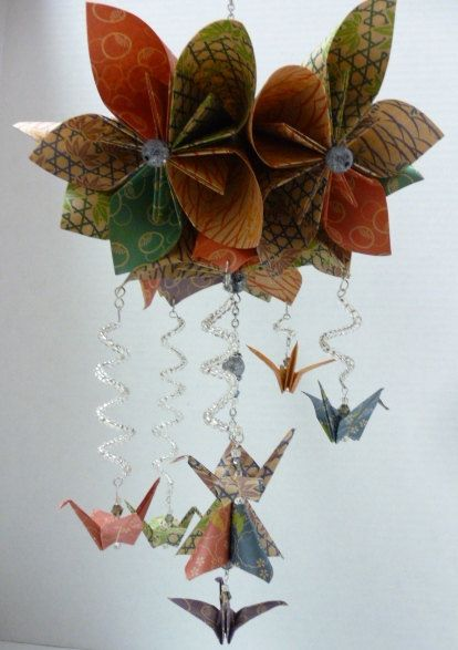 Baby girl flower mobile kusudama flower ball baby mobile origami flower mobile with cranes by stellarorigami on etsy 3500 mightylinksfo