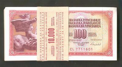 YUGOSLAVIA * BANK WRAPPED BUNDLE OF 100 PCS ! 100 Dinara 1986 UNC *P90.  http://www.ebay.com/itm/YUGOSLAVIA-BANK-WRAPPED-BUNDLE-100-PCS-100-Dinara-1986-UNC-P90-/160848837644?pt=Paper_Money=item2573567c0c