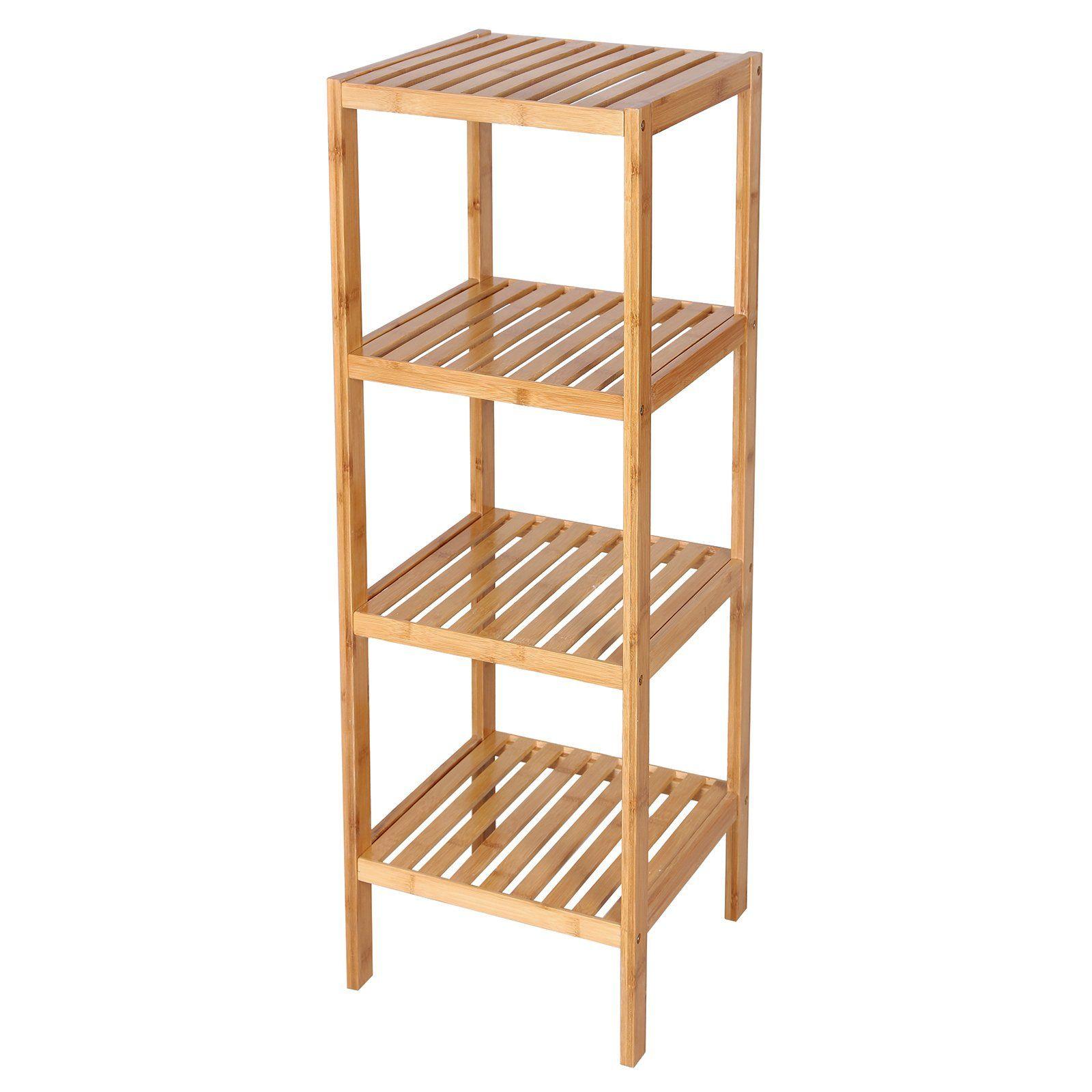 SONGMICS 100% Bamboo Bathroom Shelf 4-Tier Multifunctional Storage ...