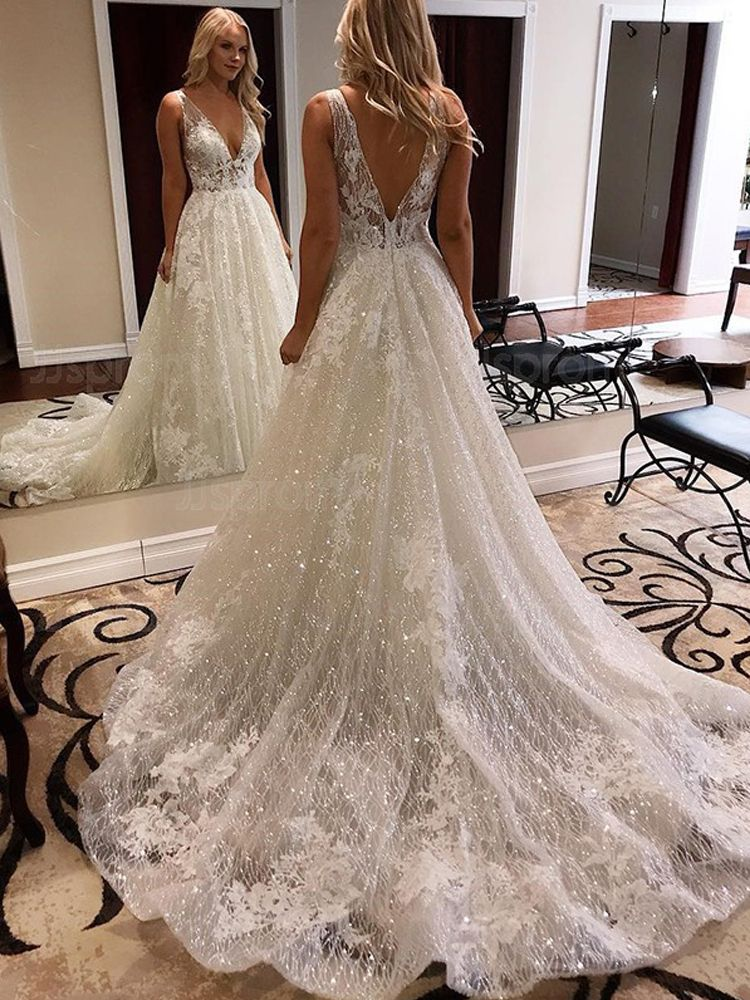 Luxurious Ball Gown V Neck Open Back White Lace Wedding