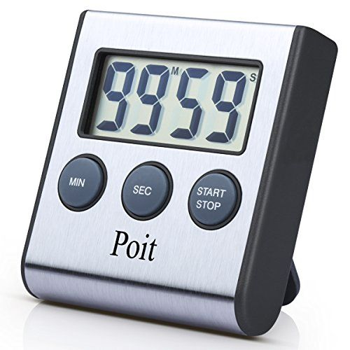Poit Digital Cooking Food Kitchen Timer, Stainless Steel, Super Strong Magnetic Back, Retractable Stand, 2016 Latest Version >>> Details can be found by clicking on the image.