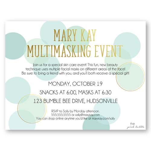 Mary Kay Multimasking Event Customize the entire postcard to fit – Mary Kay Party Invitation