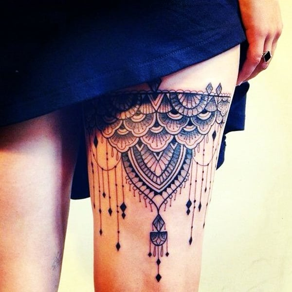 Ankle Band Tattoo Cover Up Ideas Google Search Lace Tattoo Design Thigh Tattoos Women Lace Tattoo
