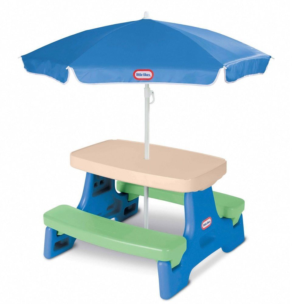 Kids Plastic Picnic Table With Umbrella Bench Outdoor Childrens Patio Furniture Littletikes