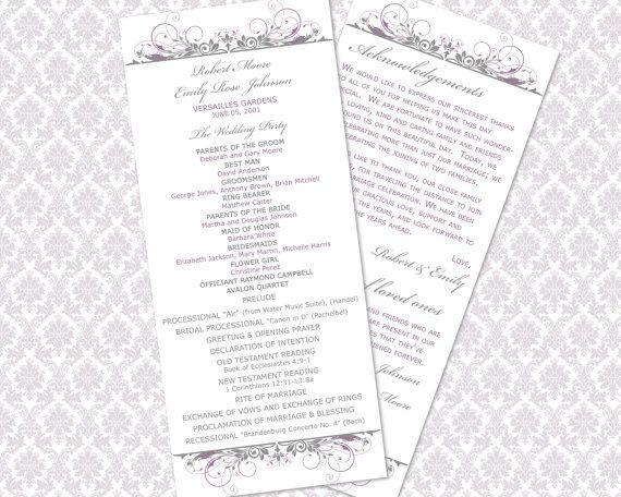 DIY Printable Wedding Ceremony Program by WeddingsbyJanieV