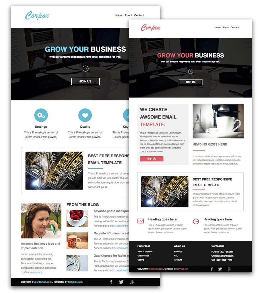 corpox a free responsive html email newsletter templates beautiful magazine style designed email newsletter templates for free - Free Email Newsletter Templates