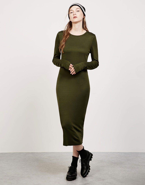 c6947a1b4f07c3 Strakke jurk met lange mouw punti di roma - Jurken - Bershka Belgium