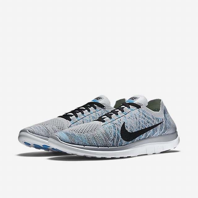 Nike Free 4.0 Flyknit Wolf Grey Black Blue Lagoon