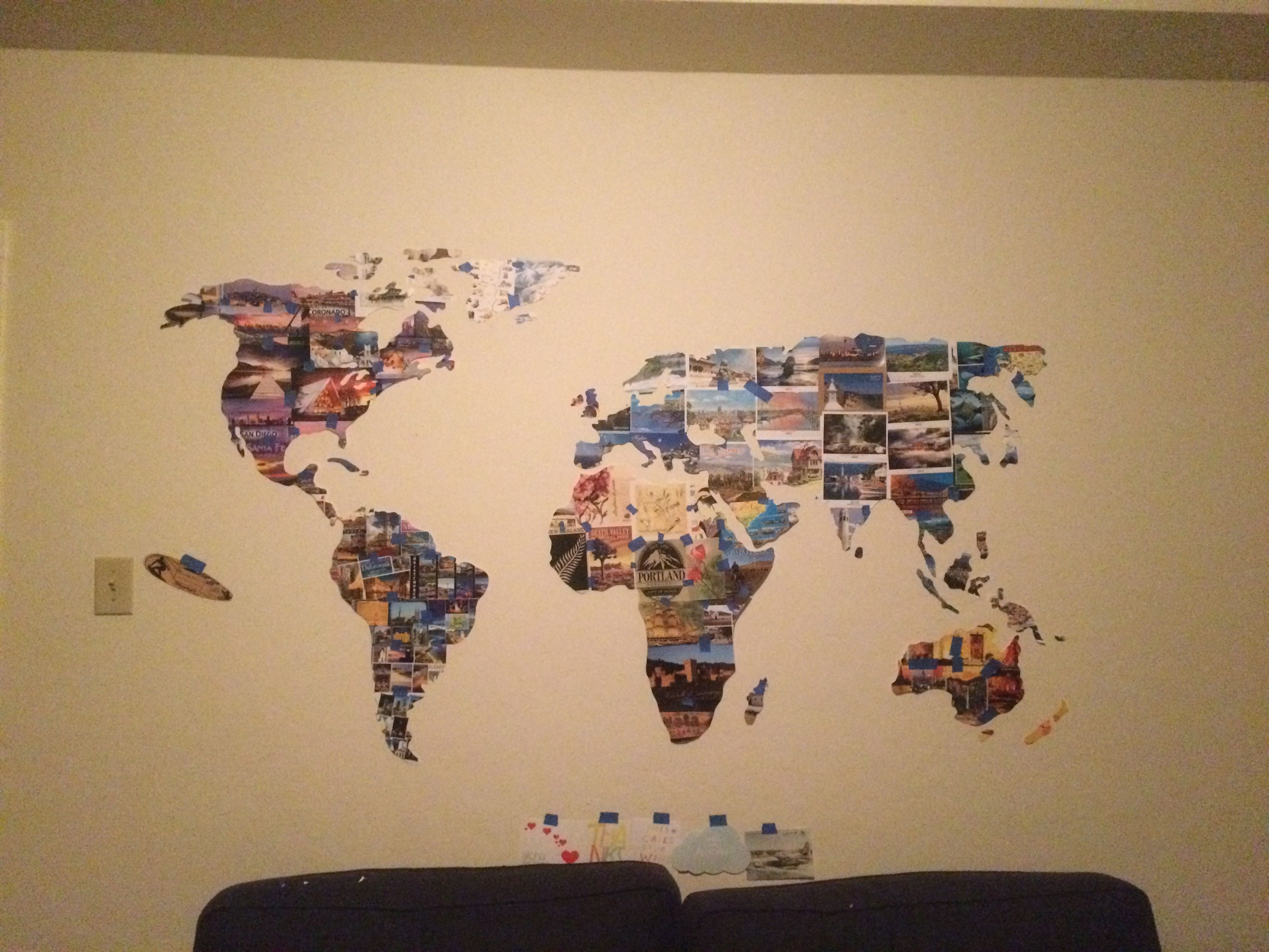 World map made out of postcards from my travels. | Postcard ... on nc travel map, create your own travel map, my trip to greece - part 2, my trips, pa travel map, make a travel map, sd travel map, my trip to greece - part 1, travel map app on facebook, world travel map,