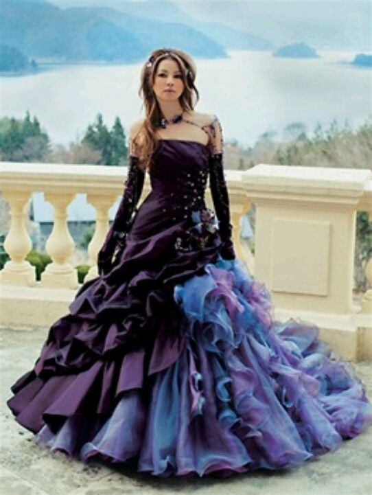 Black Wedding Dress 2 Purple Wedding Gown Traditional Wedding