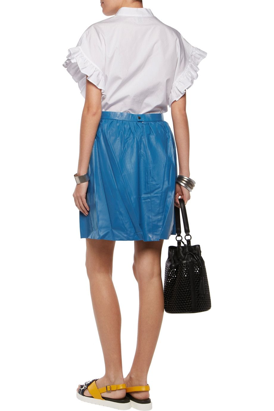 Shop on-sale Mother of Pearl Spirea gathered blue leather mini skirt.  Browse other