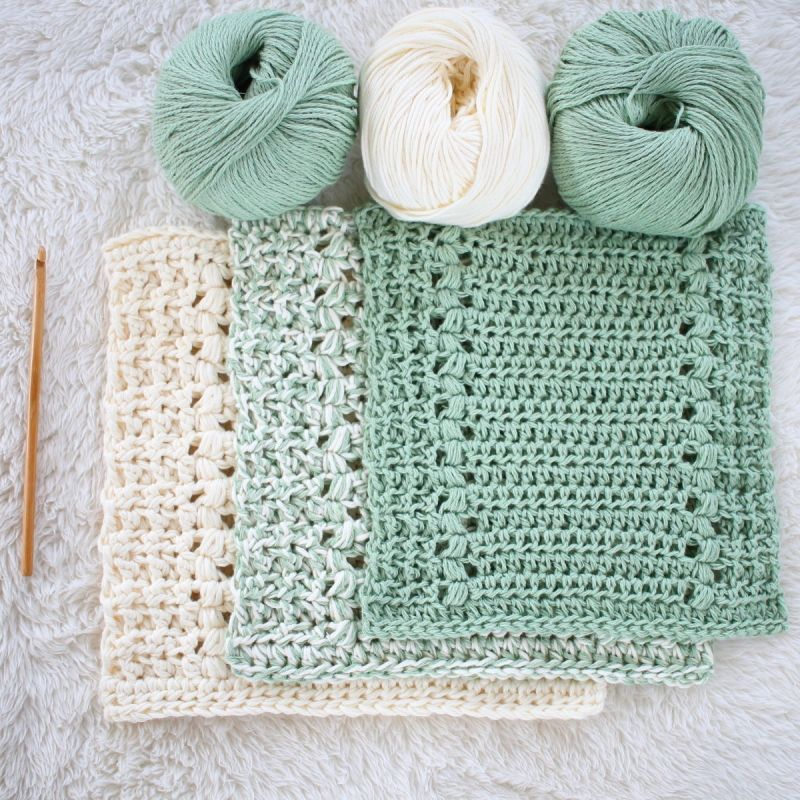 River\'s Edge Dishcloth and Hand Towel Set crochet pattern by Hidden ...