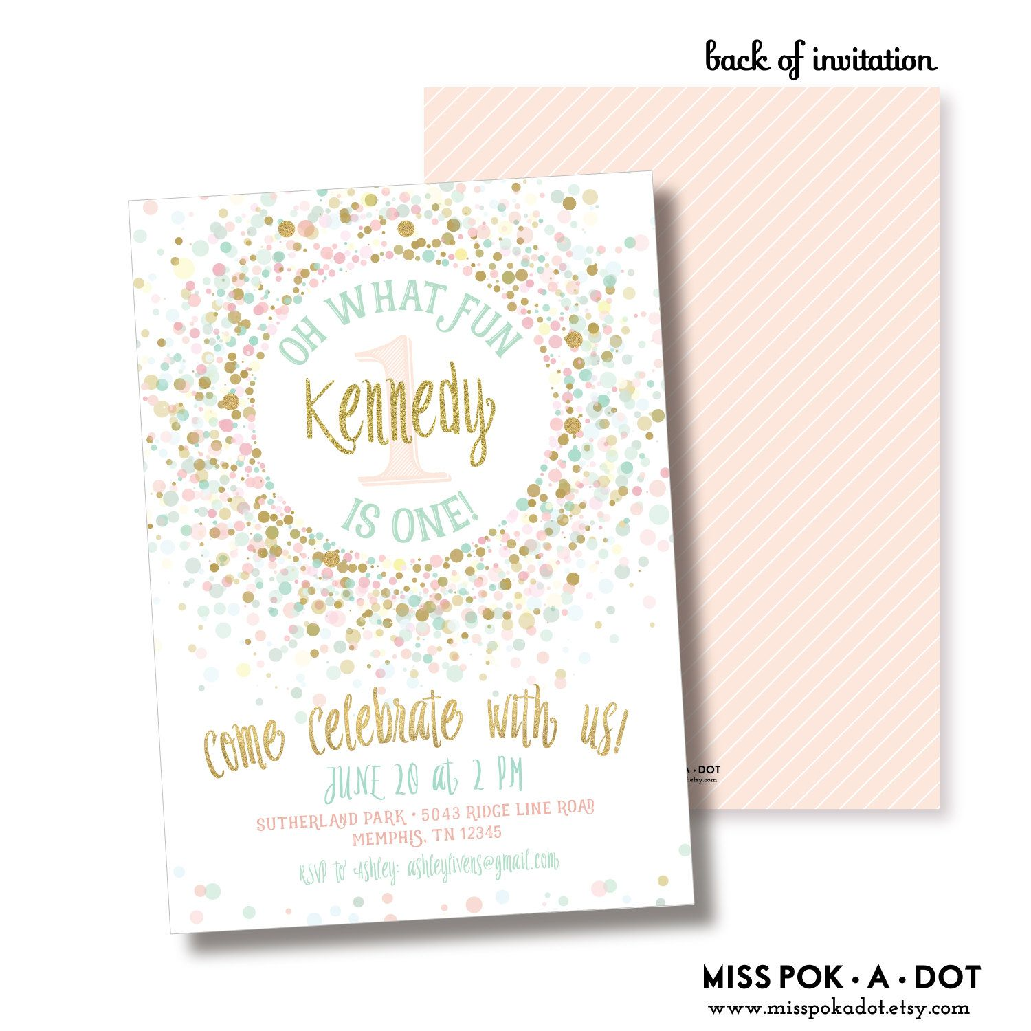 Fresh Pink Gold and Mint 1ist Birthday Party Invitation, Printable, Pink  QK34