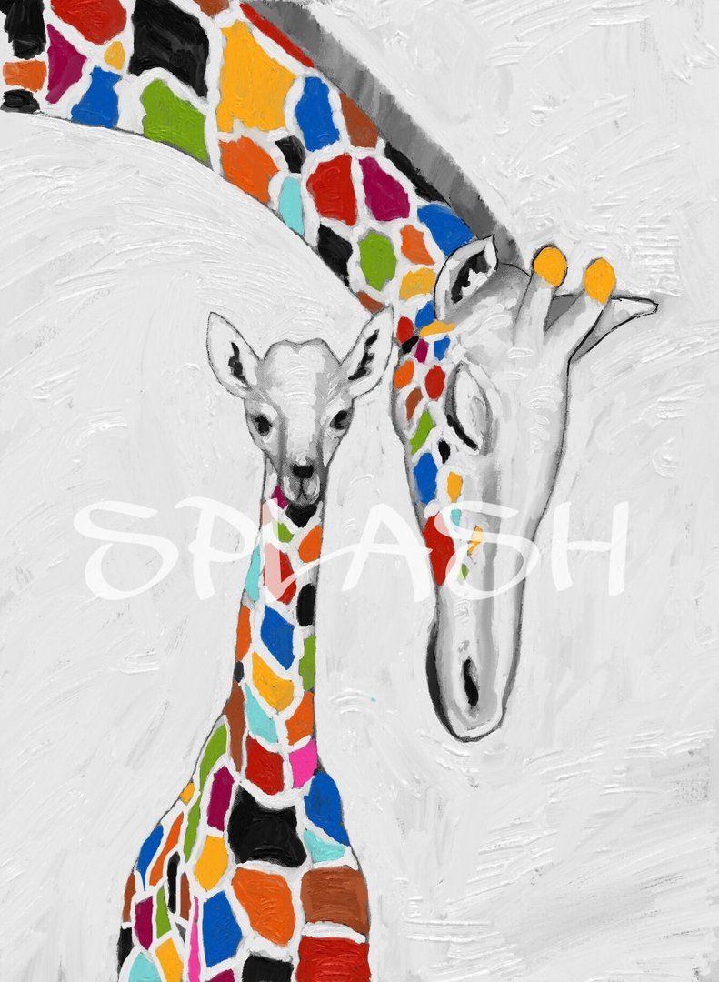 Cuadro moderno etnico jirafas decorativo SP001