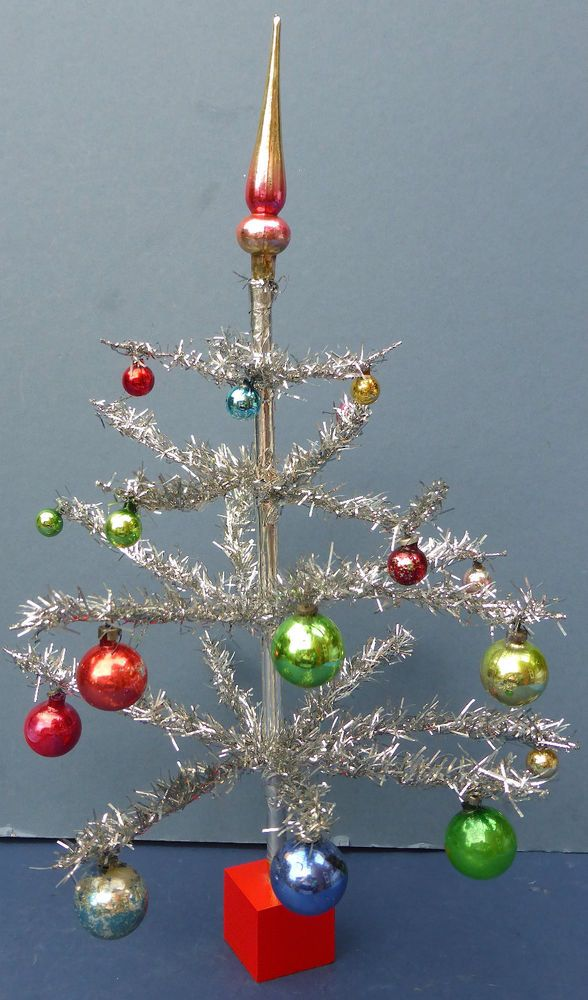 Vintage Miniature Tinsel Christmas Tree u0026 Mercury