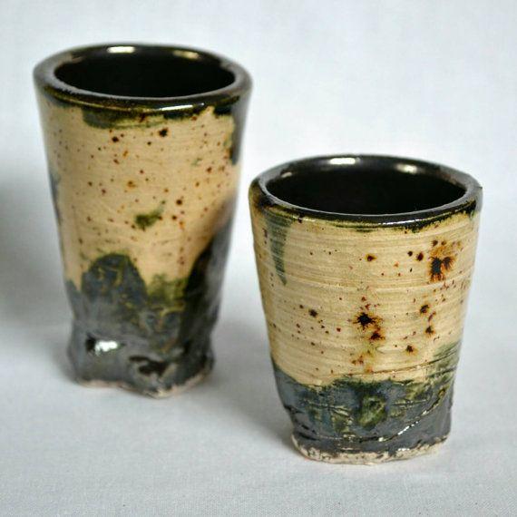 Speckled Crystal Glaze & Pewter Ceramic Shot Glass Set -Ashley Nordberg, AshleyBethPottery