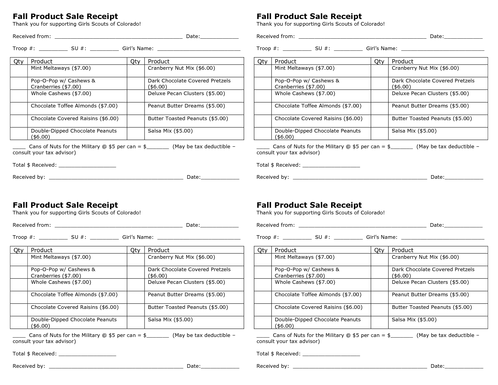 What Is Receipt Book Word Free Girl Scout Nut Sale Thank You  Fall Product Sale Receipt  Express Invoices Word with Receipt Generator Free Pdf Free Girl Scout Nut Sale Thank You  Fall Product Sale Receipt Download Invoice Software Excel