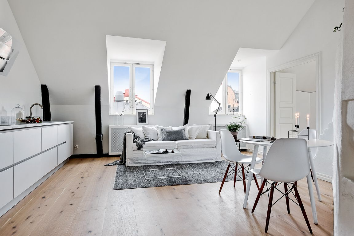 White attic living space with open kitchen | Home is the place ...