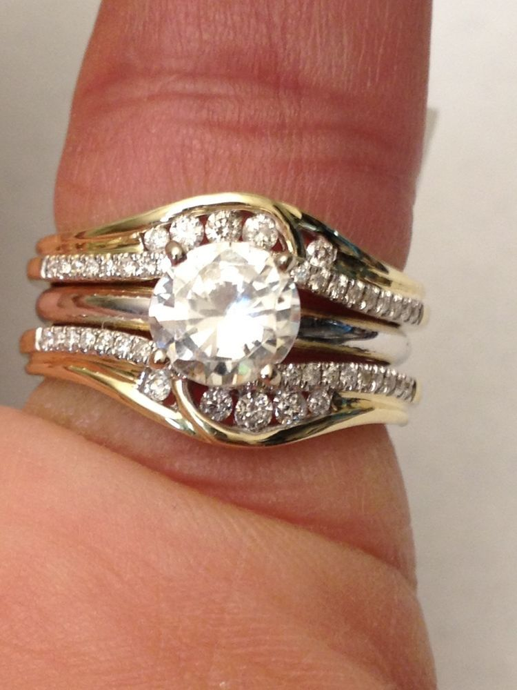14k Yellow Gold Solitaire Enhancer Round Diamonds Ring Guard Wrap