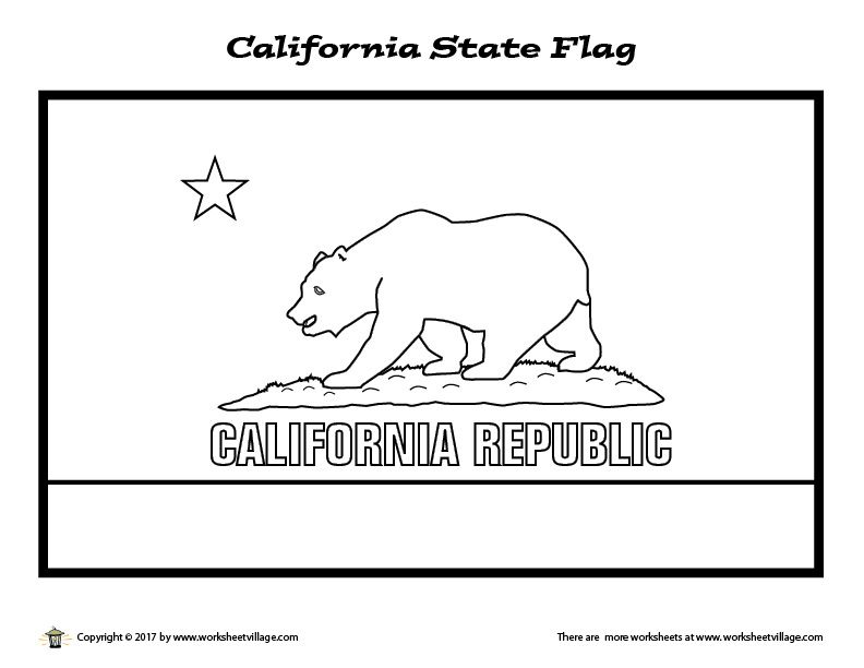 California State Flag Coloring Page Worksheet Village Flag