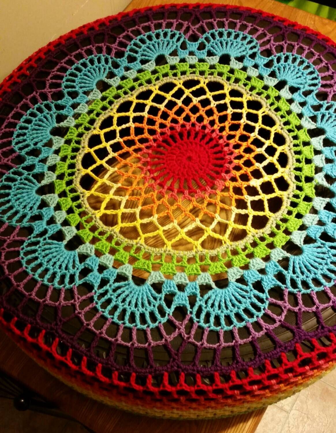 READY TO SHIP Rainbow Doily Crochet Spare Tire Cover by WhyNotCrafts ...