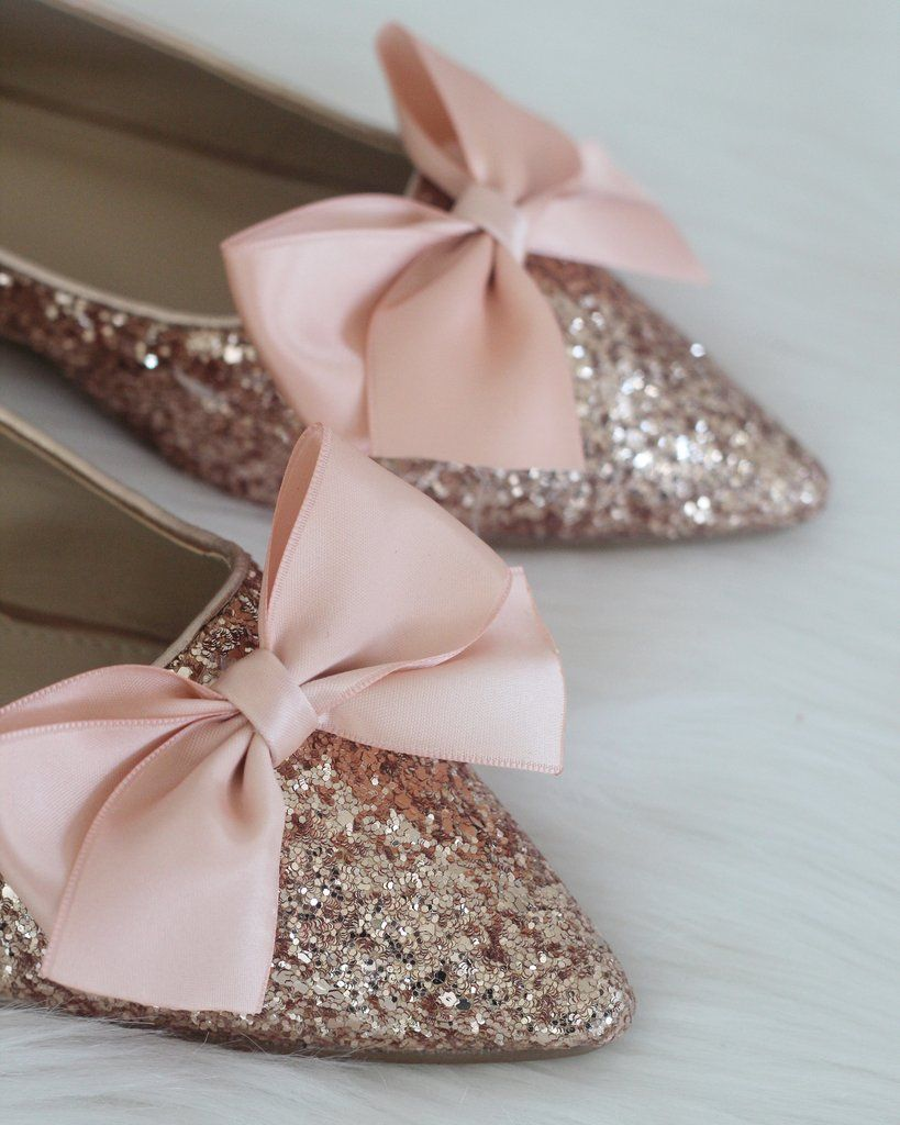 730261dcd52 Women Glitter Shoes - ROSE GOLD Pointy Toe Rock Glitter Flats with Sat –  Kailee P. Inc.