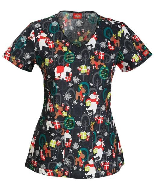 9a3d7cf1995 Women's V-Neck Top - Beary Christmas To All | Holiday Scrub Tops ...