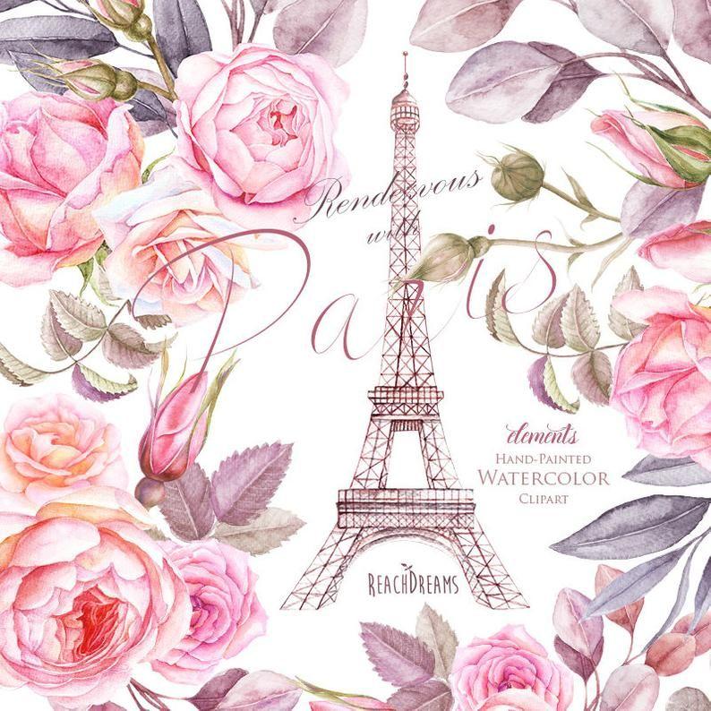 Paris Watercolor Clipart France Eiffel Tower France Roses Etsy Watercolor Clipart Clip Art Watercolor
