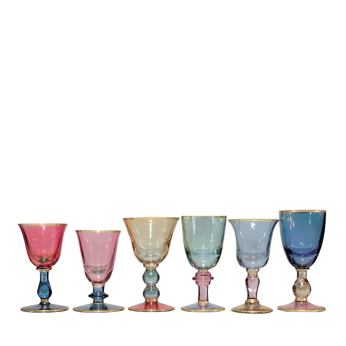 Set Of Six Arlecchino Liqueur Chalices Liqueur Glasses Glass Stemware Chalice