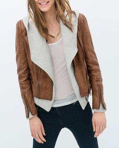 Image 2 of BIKER JACKET WITH ZIPS from Zara