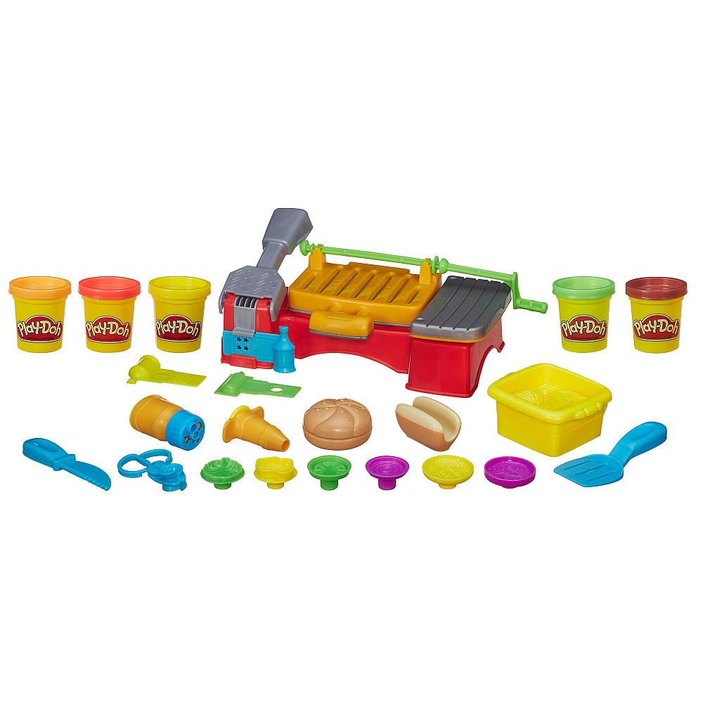 Fire up your creativity and get ready for a Play-Doh backyard barbecue! Create an epic pretend picnic lunch for your friends and family with make-believe burgers, dreamed-up hotdogs, and crazy kabobs. Lift the grill to find burger and kabob molds, and use the presser tool to make crazy condiments, pretend hotdogs, and more. Spin the handle to roast your Play-Doh lunch on the grill! When your barbecue creations are ready, don't forget the plastic buns. You won't have to worry about ants…