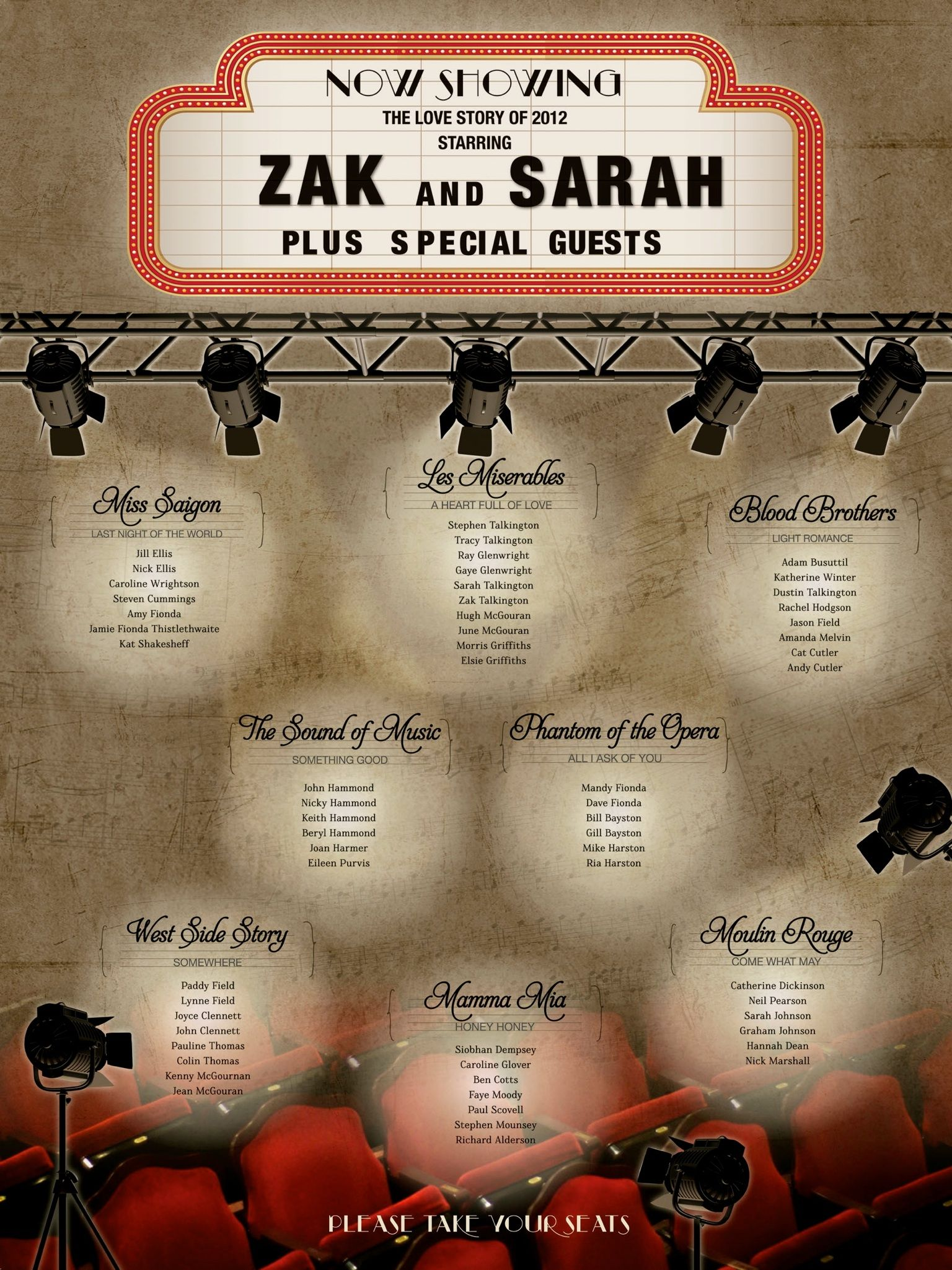 Musical Theatre Lovers Wedding Table Plan Can Be Altered For