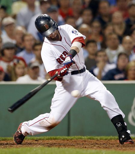 Boston Red Sox's Dustin Pedroia hits a two-run double against the Baltimore Orioles during the fourth inning of a baseball game at Fenway Park in Boston, Tuesday, Aug. 27, 2013. (AP Photo/Elise Amendola)