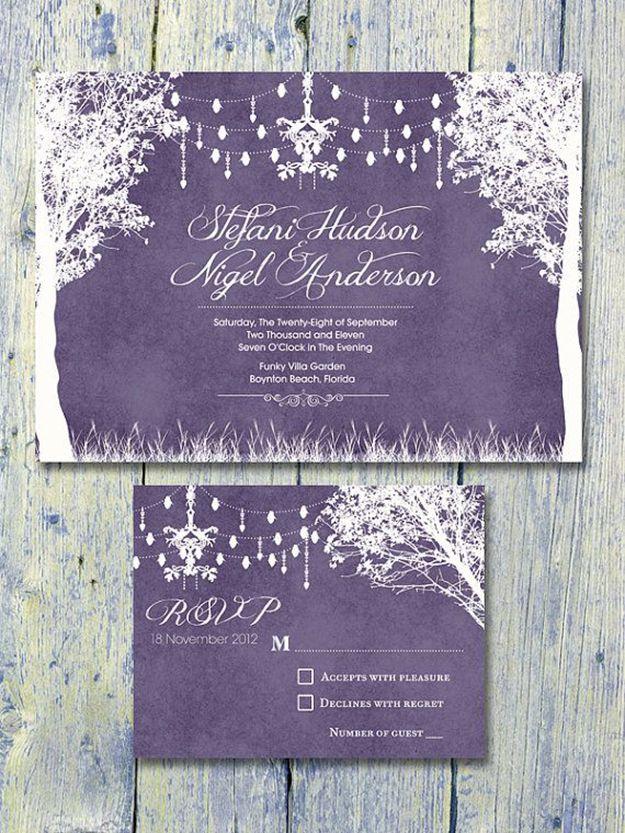 reply to wedding invitation m%0A Digital  Printable Files  Purple  In the Winter Garden Wedding Invitation  and Reply Card Set  Wedding Stationery