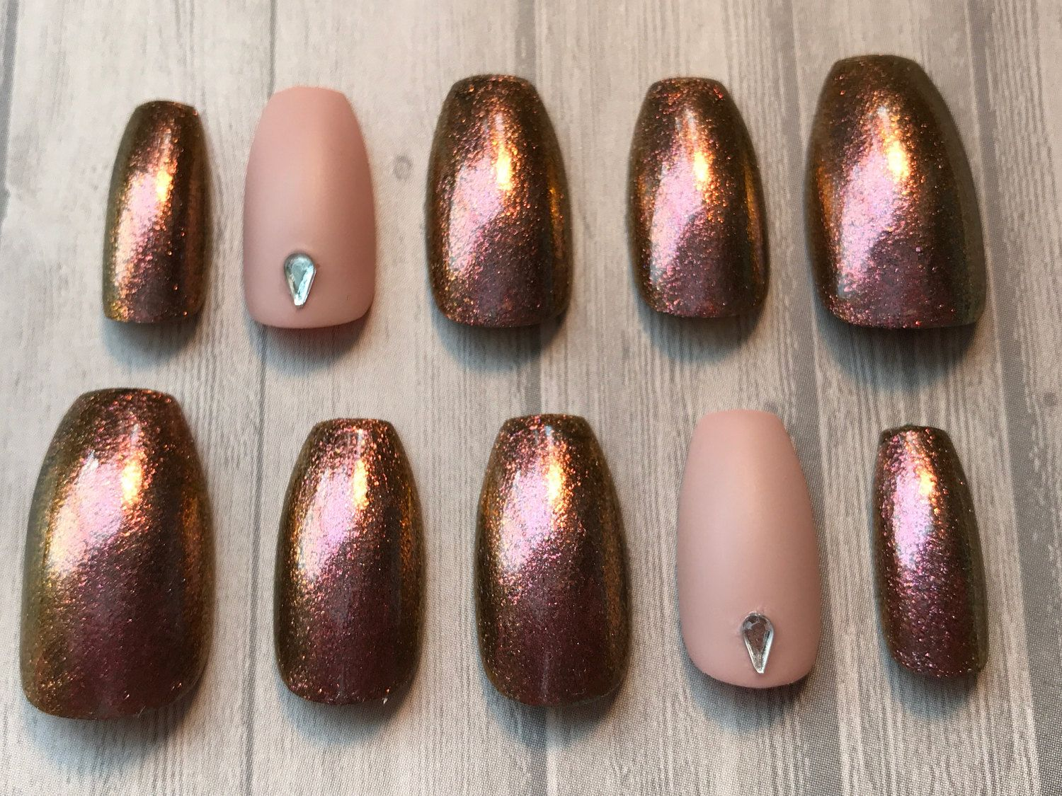 Iridescent and Matte Nails | Press On Nails | Glue On Nails | Any ...