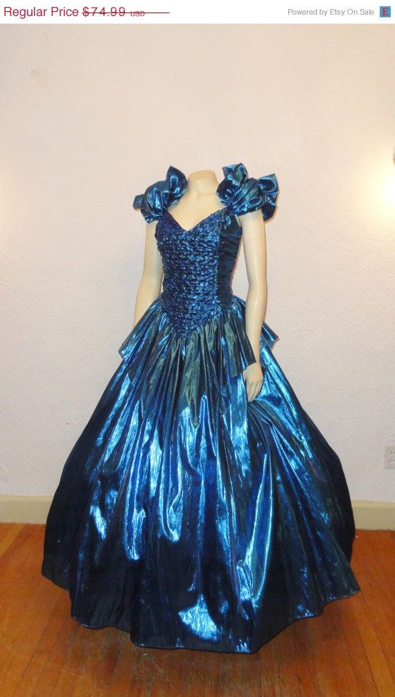 SALE Vintage Ball Gown Metallic Blue 70s 80s Prom Dress Zum Zum ...