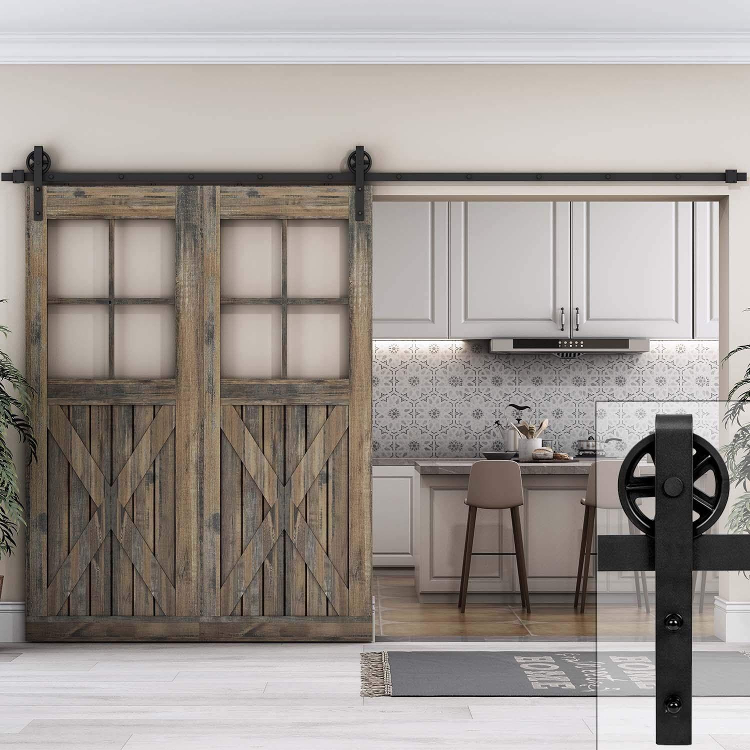 Heavy Duty Big Wheel Sliding Barn Door Hardware Track Kit Sliding Barn Door Hardware Door Kits Sliding Barn Door