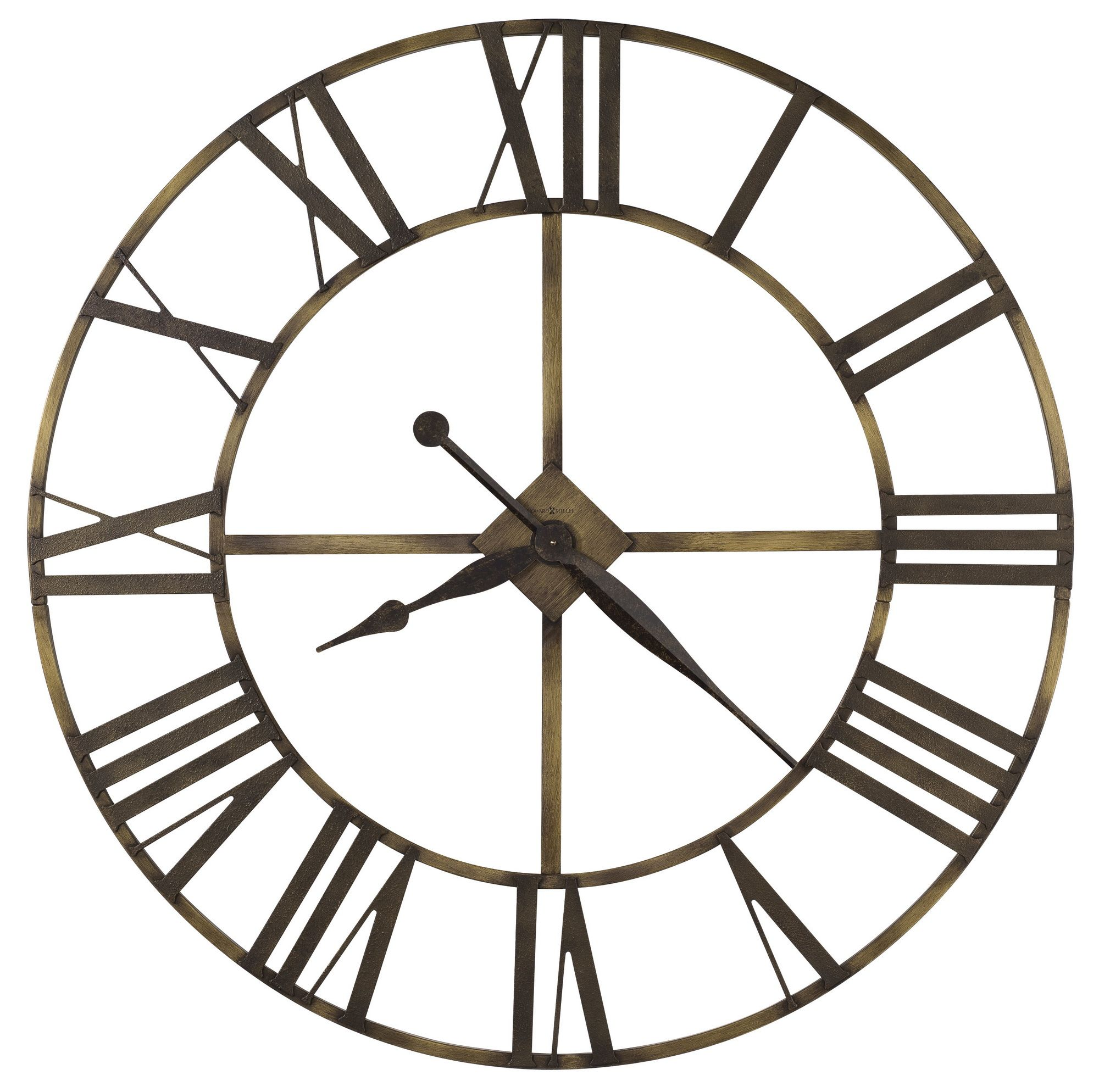 Found It At Clockway Com 49in Howard Miller Wrought Iron Wall Clock In Antique Brass Finish Oversized Wall Clock Large Wall Clock Howard Miller Wall Clock