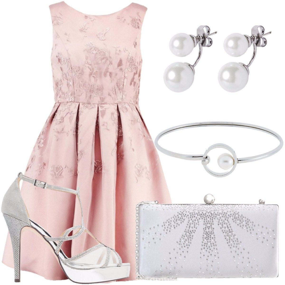 3186a61a8f Abito rosa con ricami floreali e tulle, lunghezza al ginocchio, senza  maniche, sandali