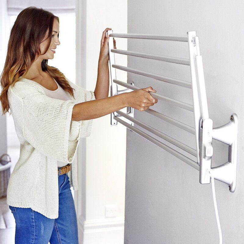 Dry Soon Wall Mounted Heated Airer In Clothes Horses And Airers At Lakeland Wall Mounted Clothes Airer Heated Clothes Airer Clothing Rack
