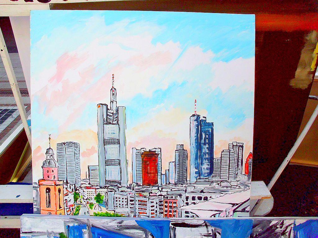 Skyline Frankfurt - von Alfredo Mariano Delarpa - Kunstmaler Straßenmaler aus Chile #kunst #actionmaler