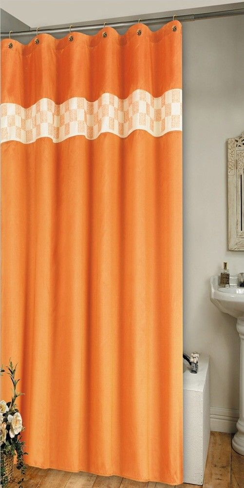 Chase Embroidered Shower Curtain Orange 70x72 Shower Curtain