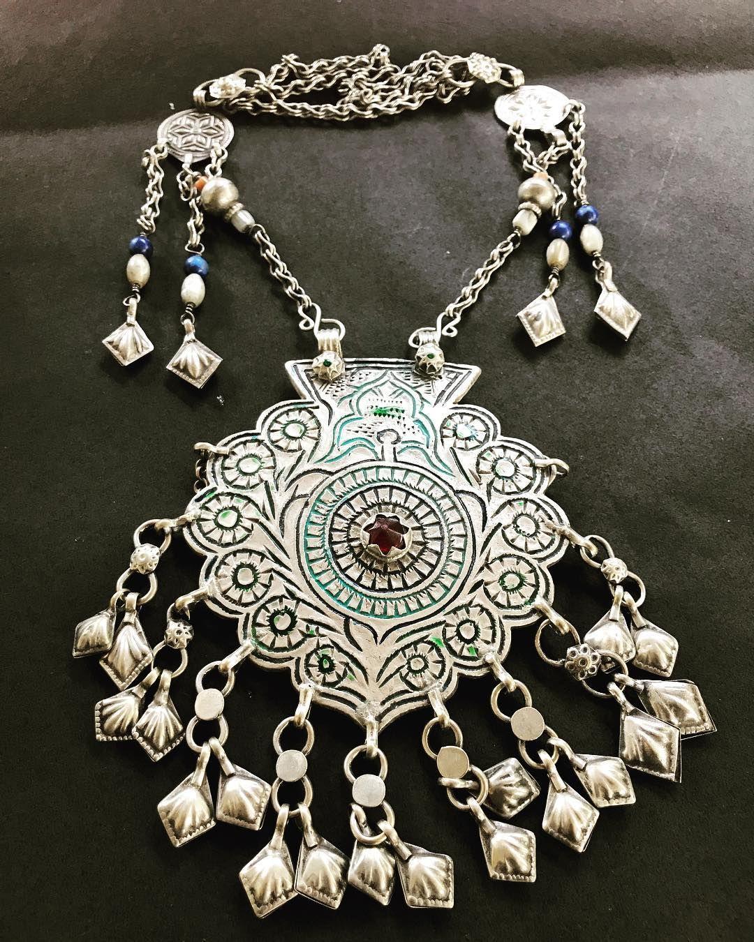 Nose piercing close up  Afghani Turkmen neckpiece in pure silverWeight  gmsDm for
