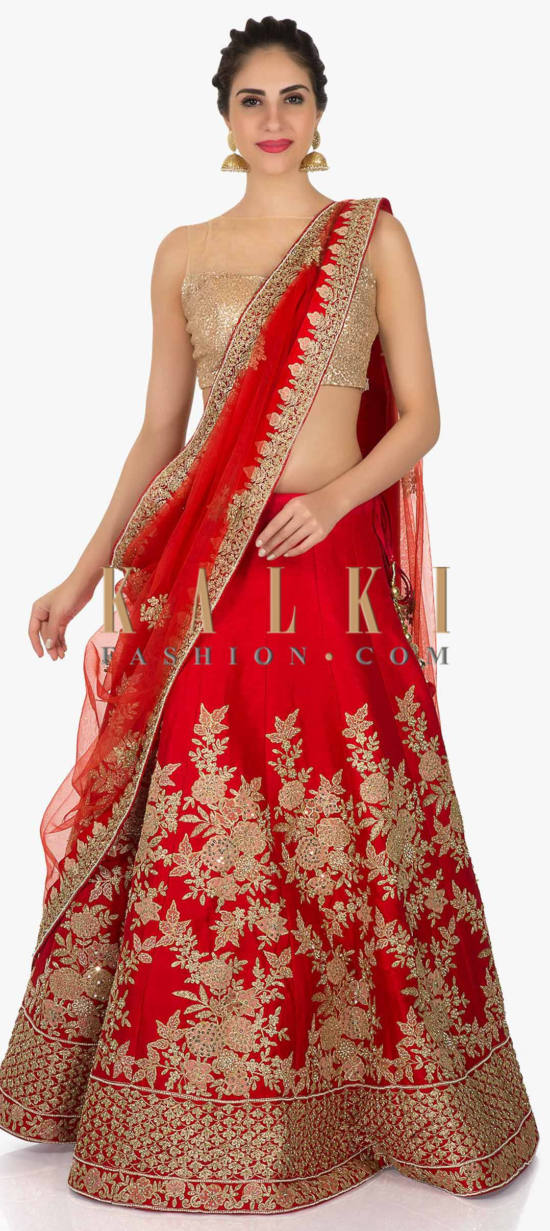 951b2b0baf9 Red lehenga in raw silk adorn with zari and moti work only on Kalki ...
