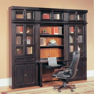 Parker House Oxford Library Wall Bookcase With Writing Desk