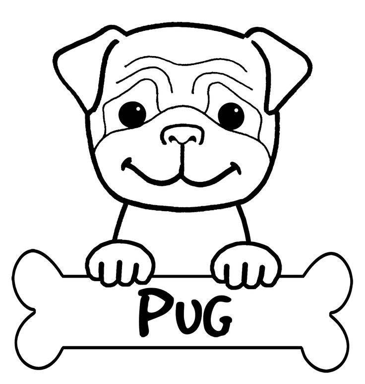 Printable Pug Coloring Page coloring pugs Pinterest Clip art