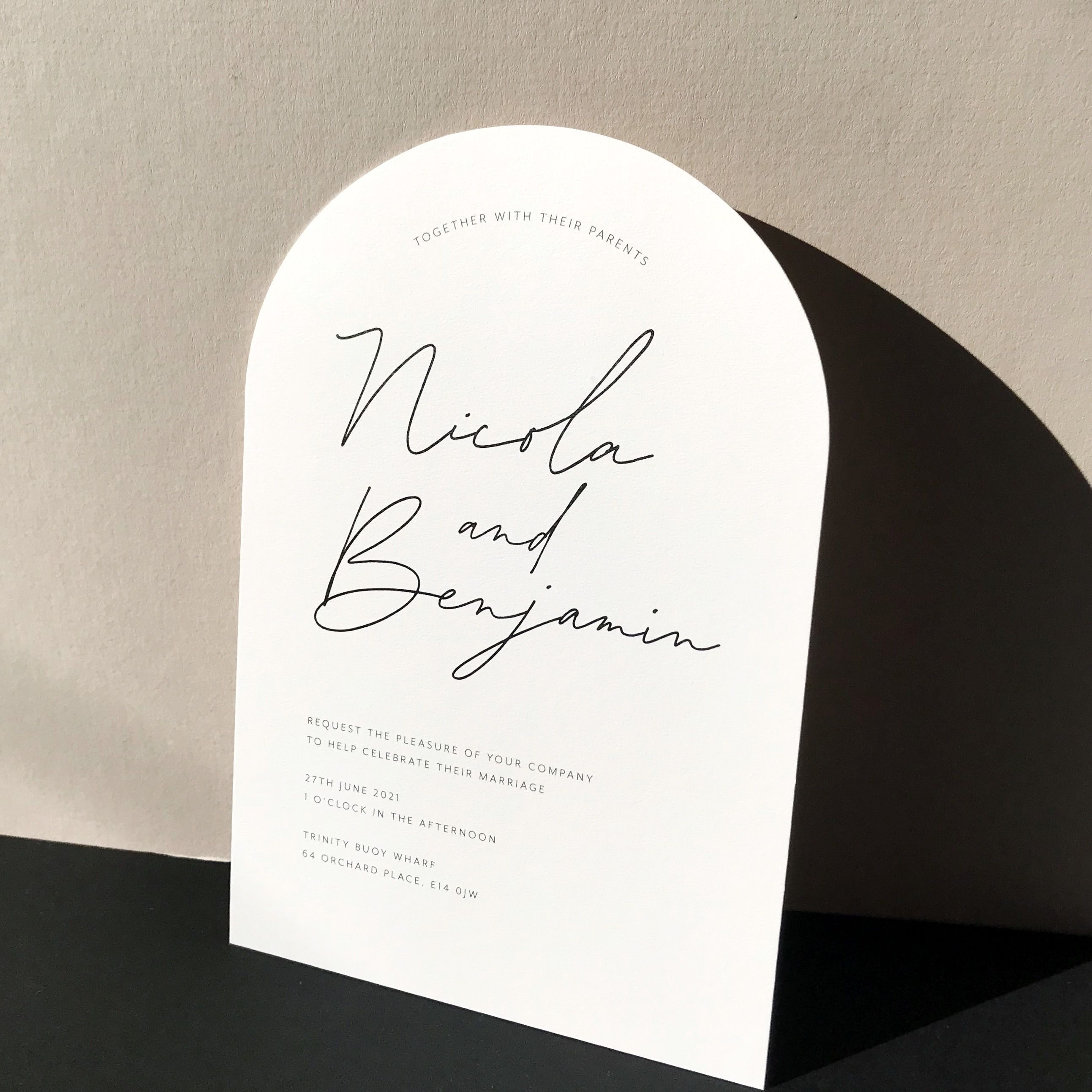 On Trend Arched Wedding Invitations With Modern Calligraphy Script Font Modern In 2020 Wedding Stationery Trends Script Wedding Invitations Wedding Stationery Design
