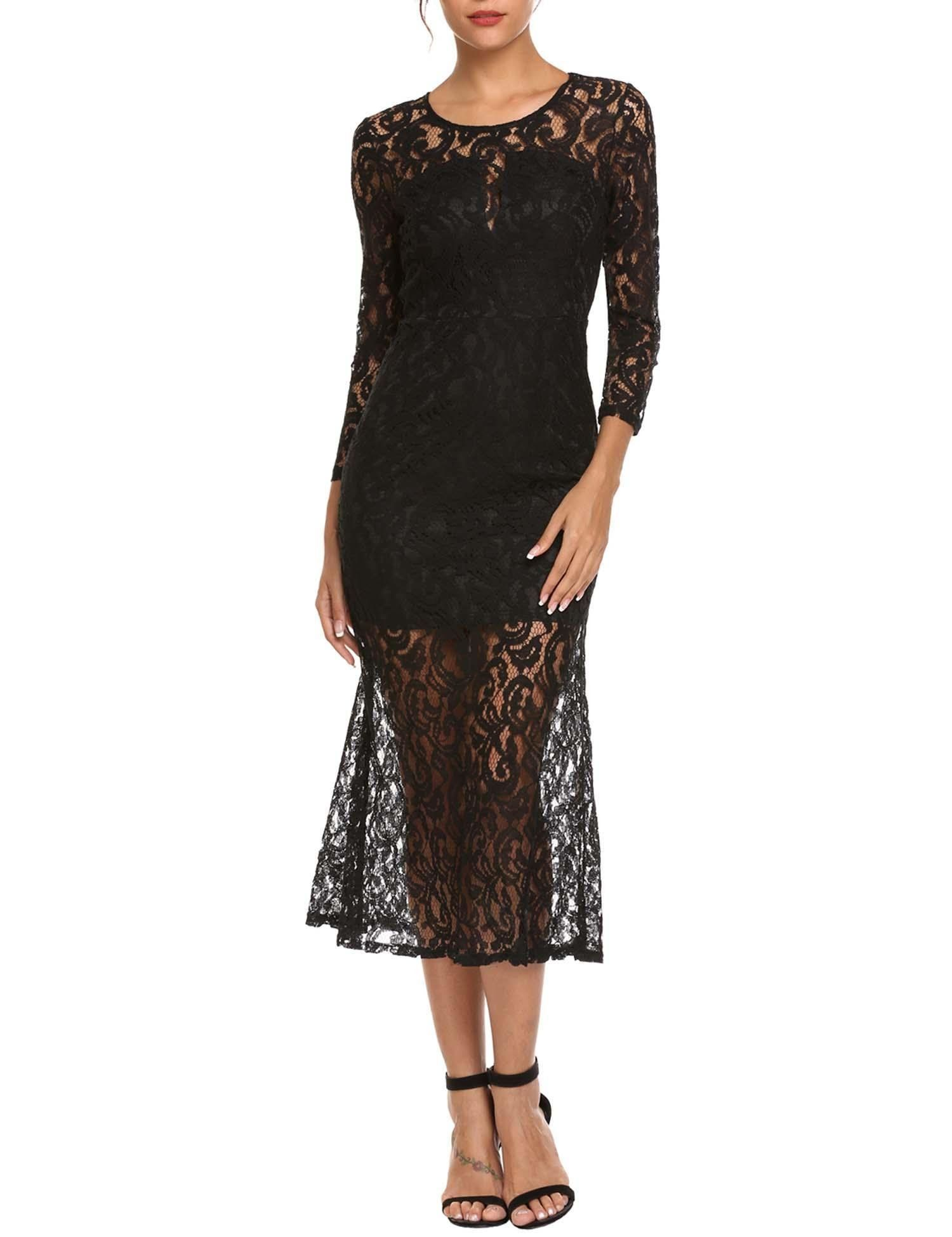 Alofa women sexy long sleeve lace fitted cut out party prom dress