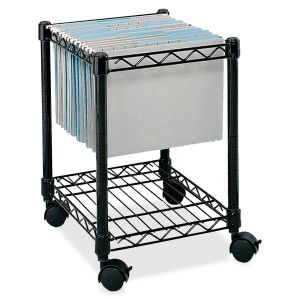 Portable Rolling File Carts File Cart 1 Shelf 4 Steel 15 5 X 14 X 19 5 Black Mobile File Cart Safco File Carts Home Office Furniture
