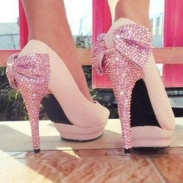 64465fb1bd4 Pink sparkly high heels with bows on the back!!!! Perfection ...